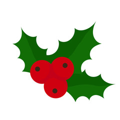 Sprig of Holly berries. Flat design