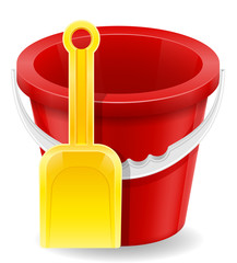 beach red bucket and yellow shovel childrens toy for sand stock vector illustration