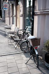 Bicycle with basket parked