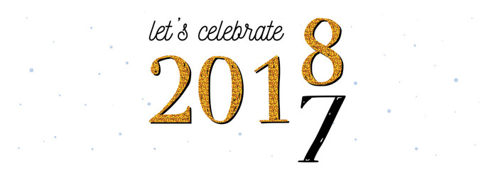 2018 celebration banner . gold 2017 numbers turning 2018 on white background.