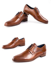 Male brown leather elegant shoe on white background, isolated product, footwear.