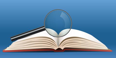 livre - loupe - concept - apprendre - savoir - connaissance - étudier - bouquin - enseignement