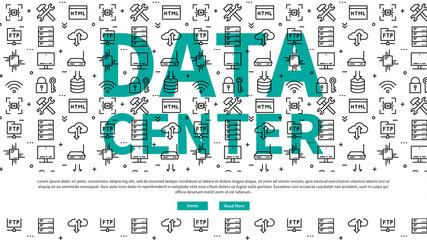 Data (server) centre website page vector illustration. Data center (network equipment, hosting storage, server technology) line art pattern creative concept. Data center template graphic design.