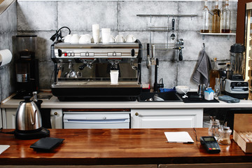Coffee shop. Workplace baristas