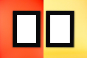 Black photo frame in red and yellow background