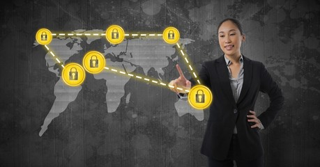 Businesswoman touching security lock icons connecting on map