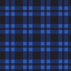 Seamless pattern of blue tartan. Vector illustration.