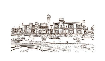Sketch illustration of Bangalore Palace, Bangalore, India in vector