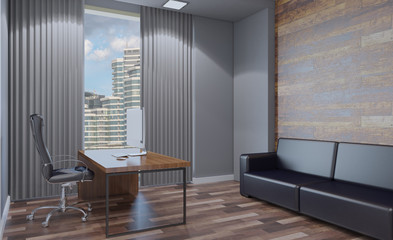 Modern office Cabinet. Meeting room. 3D rendering.