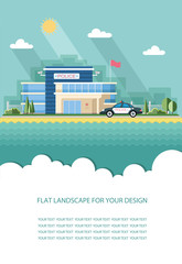 Gas station. Oil, fueling petrol with shop. Red car on a pit stop on the city background. Flat vector illustration