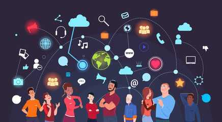 Group Of People Over Social Media Icons Background Internet And Modern Technology Concept Flat Vector Illustration