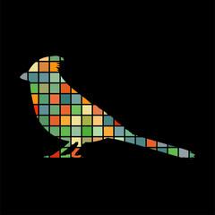 Cardinal bird mosaic color silhouette animal background black
