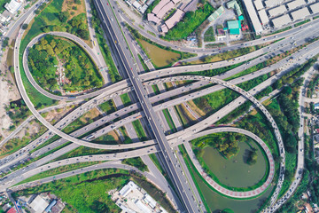 Top view traffic highway circle intersection