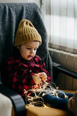 Cute boy with garland