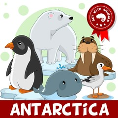 A set of cartoon animals living in Antarctica for children and design. Illustration of a polar bear, a penguin, a walrus, a whale and a seagull on an ice floe.