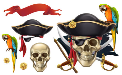 Skull and parrot. Pirate emblem. 3d vector icon set