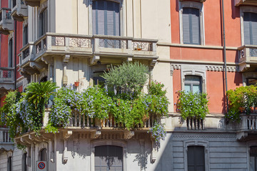 Balconies planted with flowers in one of the houses on an Italian street in Milan on a clear sunny day