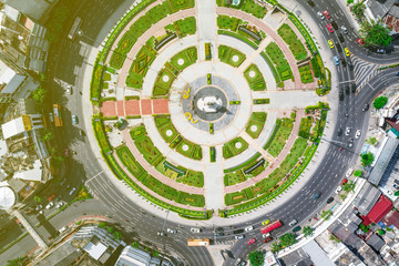Circle roundabout city junction top view