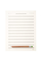 white music sheet paper note isolated on the white background.