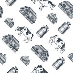 Milk farm seamless pattern. Cow, farm, milk can engraved illustration. Vintage husbandry. Vector illustration