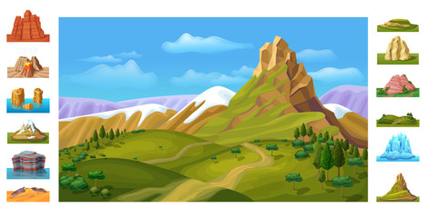 Cartoon Colorful Nature Landscape Template
