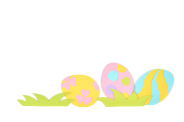 Easter eggs paper cut on white background - isolated
