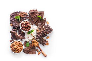 tasty chocolate bars with nuts isolated