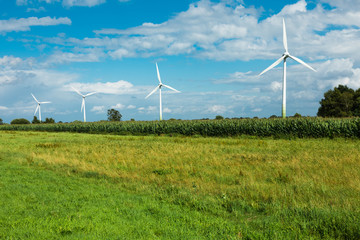 wind turbine surrounded by green fields