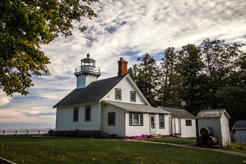 Lake Michigan Lighthouse. The Old Mission Point Lighthouse on the shores of Lake Michigan in Traverse City, Michigan