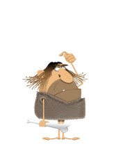 cartoon of hairy caveman