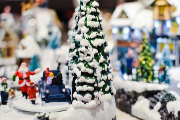 Christmas music cottage toy miniature for joyful seasonal decorated ornament background.