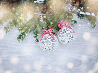 christmas decoration on fir branches background