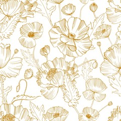 Botanical seamless pattern with gorgeous blooming wild poppy flowers hand drawn with yellow contour lines on white background. Natural vector illustration for textile print, wallpaper, wrapping paper.