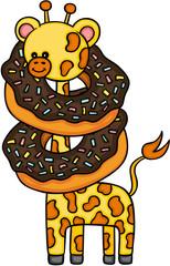 Cute giraffe with chocolate cake donut