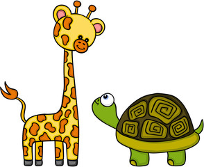 Giraffe and turtle are the best friend