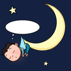 sleeping cute boy  the moon illustration drawing and dark blue  background and dream