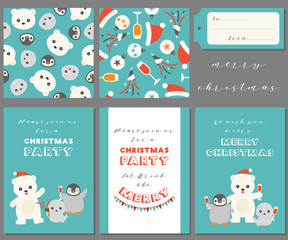 antarctic friends for merry Christmas, greeting card, seamless pattern, tag for use as poster, invitation for party and wrapping paper, polar bear,seal,penguin celebrate Christmas