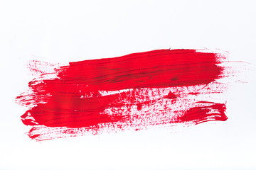 abstract painting with bright red brush strokes on white