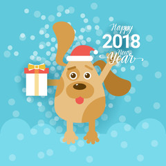 New Year 2018 Greeting Card With Dog Holding Present Box And Wearing Santa Hat Vector Illustration
