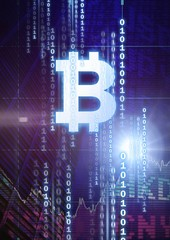bitcoin graphic icon with binary code and market finance economy