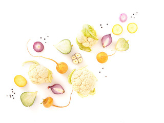 Vegetables isolated on white background top view.
