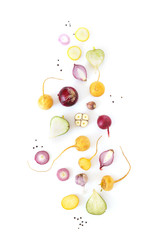 Fototapete - Vegetables isolated on white background top view.