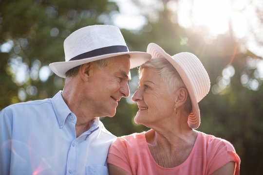 Senior couple looking at each other on sunny day