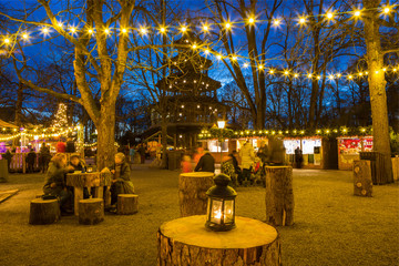 Traditional Christmas Market at the Chinese Tower, Munich, Germany