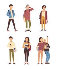 Collection of male and female students dressed in modern clothing isolated on white background. Set of young men and women carrying books. Bundle of flat cartoon characters. Vector illustration.