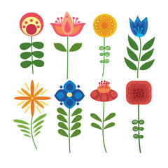 Vector set of stylized flowers. Collection of ornamental plants. Illustration for children. Art.
