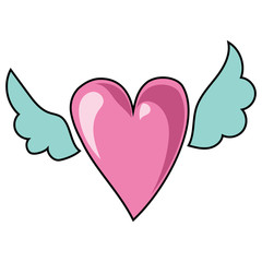 Cartoon heart with wings. Vector illustration for children. Logo.