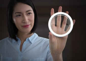 Businesswoman holding glass circle graphic icon