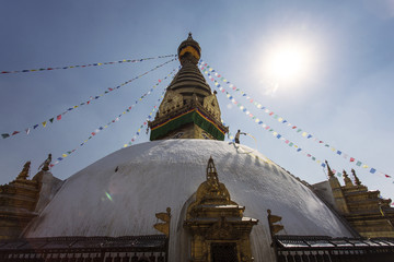 Swayambhunath is an ancient religious complex atop a hill in the Kathmandu Valley at Monkey Temple , Nepal.