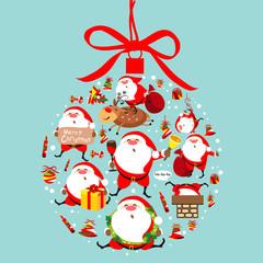 Santa Claus, Christmas ball, bow, set